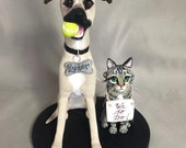 Custom Made Clay Dog & Cat  Wedding Cake Topper Sculpture Reserved for Nikki Pappas