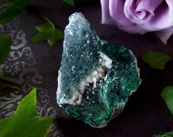 Chrysocolla Quartz Cluster - Chrysocolla Druzy Quartz Crystal Dark Green Atacamite Calcite Malachite - Raw Chrysocolla Ica Region Peru