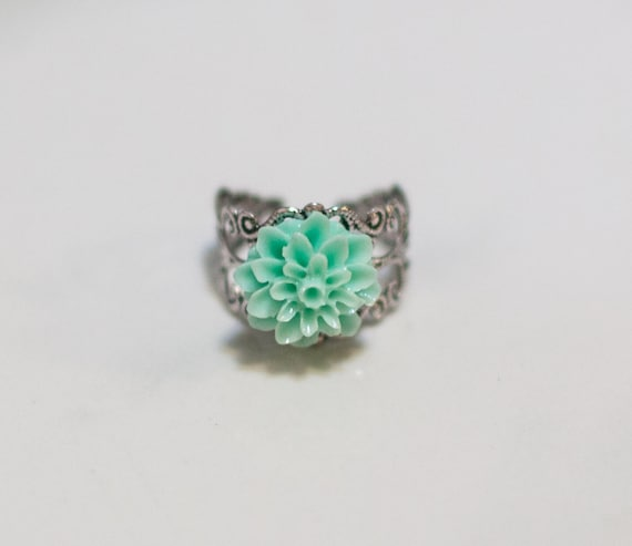 Aqua filigree ring, silver, gift, dahlia, Cabocon, handmade in Santa Cruz, nature inspired, silver plated