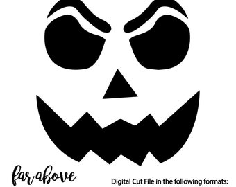 Jack O Lantern Pumpkin Face SVG, DXF, png, jpg digital cut file for Silhouette or Cricut for Halloween