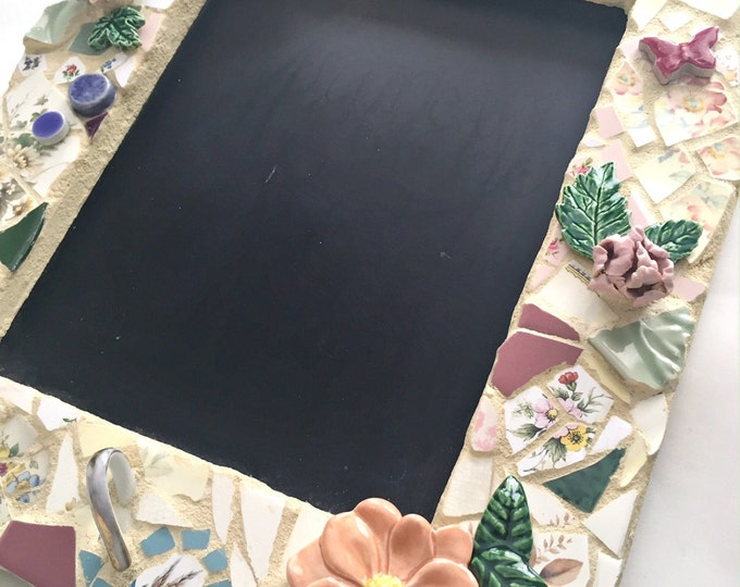 Mosaic Chalkboard, Pastel Mosaic Blackboard, Flower Embellished Mosaic Reclaimed Cottage Chalkboard, Floral Mosaic Shabby Chic Chalk Board,
