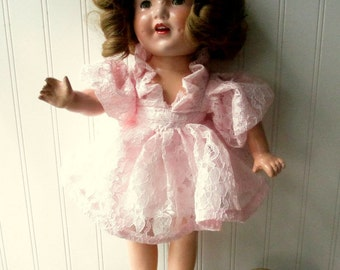 Vintage composition doll Shirley Temple style doll 19 inch pink lace dress K14