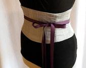 Silver Silk Corset Belt Waist Cincher Raw Silk Any Size B