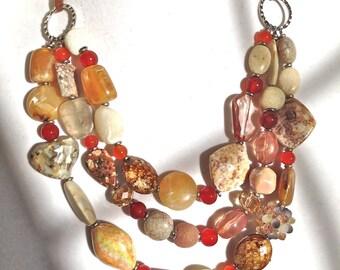 bold chunky necklace, multi strand statement necklace, earthy tone statement necklace
