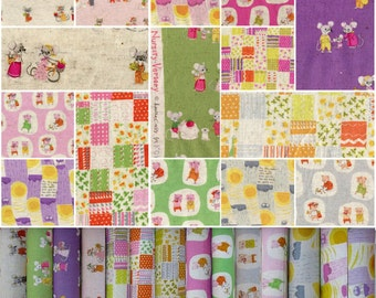 Heather Ross Nursery Versery for Kokka Japan, 14-pc FQ set - Cotton linen fabric bundle