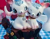 Vintage Japan Ceramic Sweet Kawaii Rune Naito White Unicorn Child w Mohair Money Bank
