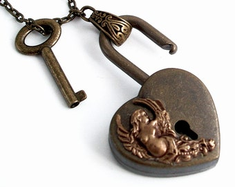 Keeping Heart - Victorian Style Functional Working Padlock Necklace