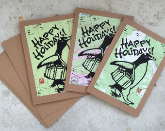 Traveling Penguin Holiday Cards on Topo Maps, set of 3 with envelopes, made by hand