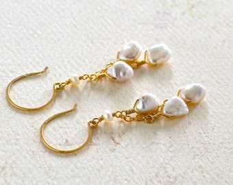 Pebbles Earrings - pearl earrings, pearl dangle earrings, pearl jewelry, bridal earrings, june birthstone, gold and white