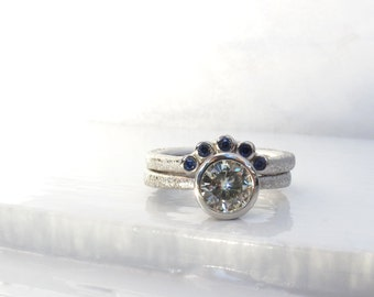 Star dust low profile engagement ring and fitted wedding band moissanite and sapphire