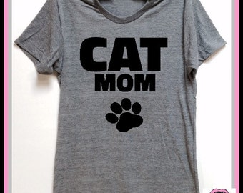 CAT MOM. UNISEX Tri Blend Track T-shirts hand print. animal lovers. dog shirt. cat shirt. rescue shirt. Dog or Cat Lovers Gift. Adopt!