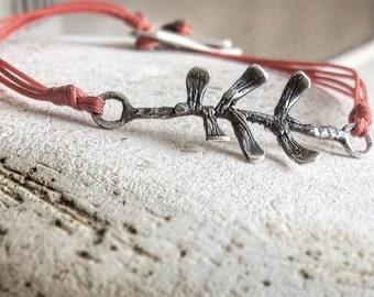 Leaf bracelet-Sterling silver leaf bracelet-Leaf charm bracelet-Dainty bracelet-Leaf cord bracelet-Delicate leaf bracelet-Gift for her