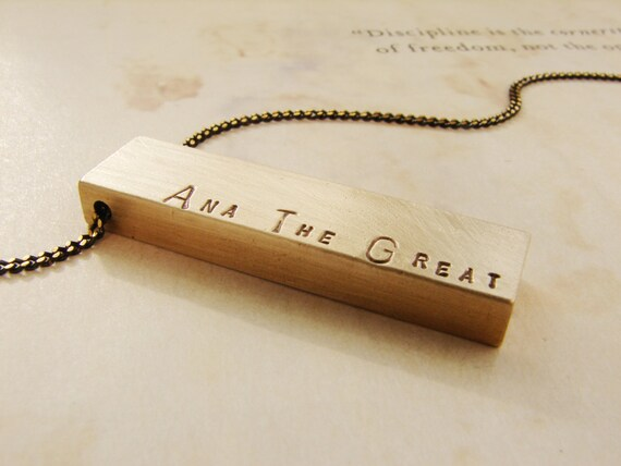 Personalized women's necklace, Custom hand stamped name necklace, bar pendant, personalized name necklace, gift for bestie, sister gift