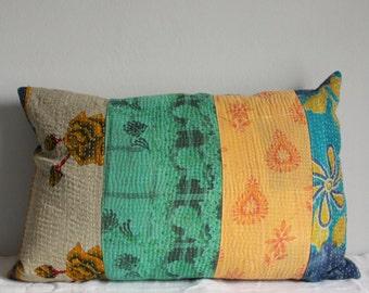 Cushion slip kantha quilt patchwork blue yellow 60x40cm