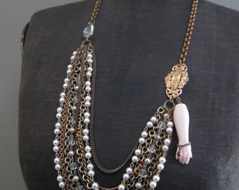 A Mother's Love - Upcycled Statement Necklace with Pearls and Antique Doll Arm
