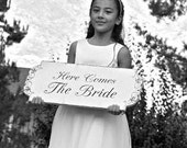 HERE COMES the BRIDE - Wedding Signs - 24x10 - Double sided - Flower Girl / Ring Bearer sign