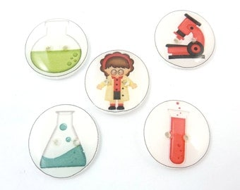 "5 Girl Scientist Handmade Buttons. 3/4"" or 20 mm Science sewing, knitting, crochet buttons."