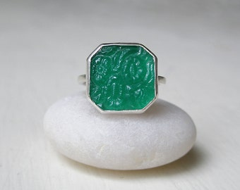 Floral Art Deco Jade Glass Gem Ring – Intaglio Glass – Vintage  Pressed Glass – Sterling Silver – Octagon  Octagonal Gem – Square Gem