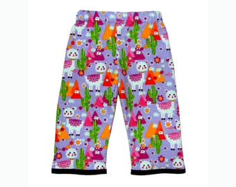 Alpaca Pants - Peruvian - Tribal Clothing - Cotton Pants - Purple Pants - Girl Pants - Toddler Pants - 2t - 3t- 4t - 5t
