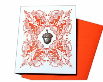 Thanksgiving Acorn Letterpress Blank Card
