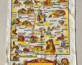 Vintage 1950s Souvenir Towel New Mexico