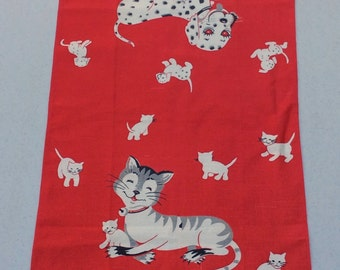 Vintage Towel Adorable Cats & Dogs Signed