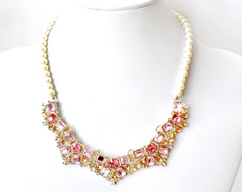 Blush Pink and Gold Rhinestone Bib Necklace - Ivory or White Pearls - Vintage Style - Rose Pink Gold Statement Bridal Necklace