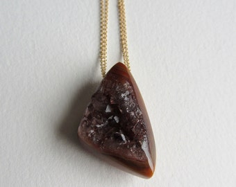 Red Agate Druzy Necklace with Gold Chain - Handmade in Seattle