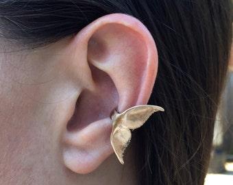 Whale Tail Ear Cuff Bronze Whale Ear Cuff Whale Jewelry Whale Art Bronze Ear Cuff Whale Tail Jewelry Ocean Jewelry Ocean Animal Dolphin Tail