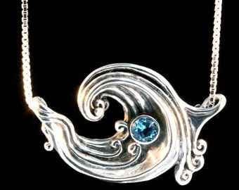 Silver Wave Necklace Wave Jewelry Rip Curl Wave Pendant with Gemstone Wave Jewelry Boho Necklace Ocean Jewelry Beach Jewelry Silver Necklace