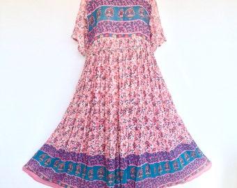 80s Vintage Indian Papillon Boho Hippie Cotton Gauze Gypsy Festival Midi Dress . D128 . SML . 1225.8.9.16