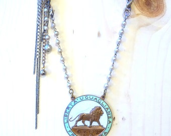 liberty, equality, and brotherhood: antique italian lion necklace