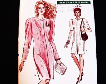 1980s Vogue Dress Pattern Misses size 12 14 16 UNCUT Women Shift Dress Pattern Easy to Sew