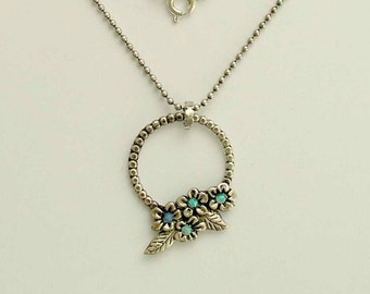 Floral pendant, flower necklace, sterling silver necklace, floral botanical necklace, blue opal stones necklace - Winds of change N4627A