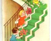Vintage - HUMOUR - GIRLS Climbing Stairs with FLOWERS- 1929- French Designed colored Postcard, Greetings- Art Deco, written - Good condition