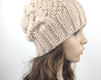 Hand knit hat Wool hat woman Hat slouchy hat Wheat hat