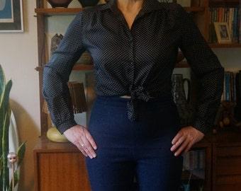 vintage 70s 80s black white Trevira polka dot silky polyester shirt secretary blouse long sleeves 1970 1980