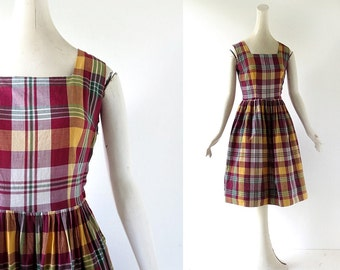 Plaid 1950s Dress / Camp Narragansett / 50s Dress / 1950s Sundress / XS