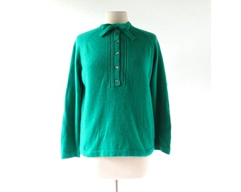 Vintage 60s Sweater | Emerald Green Sweater | Bow Sweater | L XL