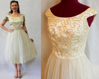 1950s off white satin and sequin bodice and tutu chiffon skirt dress