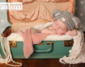 baby Mouse Hat .. Valentines day Hat .. Newborn photo prop ... baby hat ... baby bonnet .. Mouse bonnet .. newborn 3 6 and 12 months