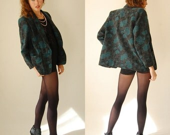 Wool Blazer Vintage 80s Graphic Floral Wool Brocade Structured Oversized Blazer Jacket  (s m l)