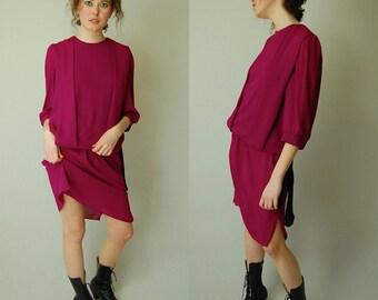 Blouson Drop Waist Dress Vintage 80s Does 20s Plum and Black Slouchy Drop Waist Dress (s m)