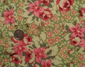 FL002 ~ Pink roses Pink flowers Green fabric Quilting fabric Cotton fabric