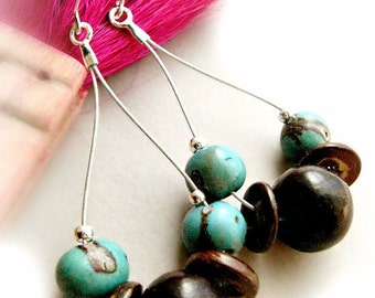 Acai Seed Hoop Earrings - Sterling Silver / Powder Blue