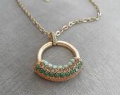 Vintage Lia Sophia Long Necklace with Rhinestone Encrusted Circle Pendant
