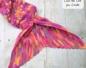 Large Adult Mermaid Tail Crocheted Adult Ladies Handmade Blanket Cocoon Costume in the USA Little Mermaid pink purple Fast turn around