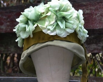 Green Flower-Covered Cloche Hat