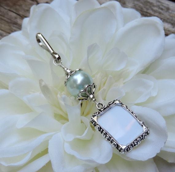 Blue Bridal Bouquet Charm : Wedding bouquet photo charm barely blue shell pearl memorial