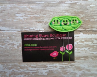 Felt Paper Clips - Green Happy Peas In A Pea Pod Paper Clip Or Bookmark - Girls Accessory - Vegetable Food Accessories For Books